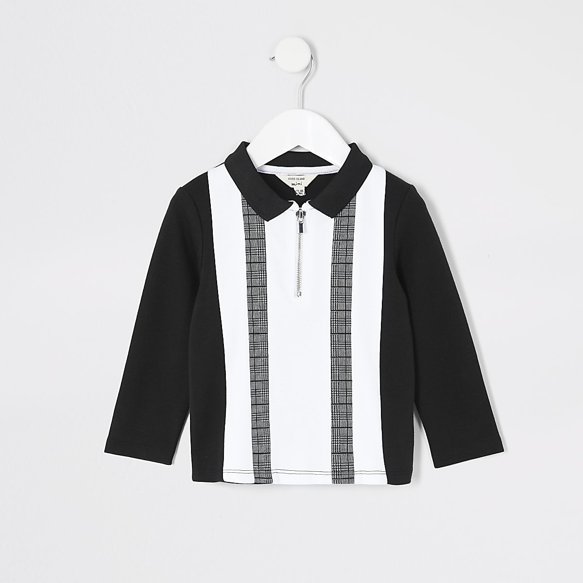 Mini boys black colour blocked polo shirt