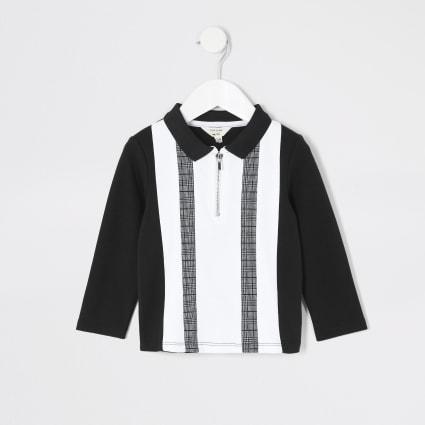 Mini boys black colour blocked polo shirt