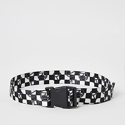 Boys black checkerboard print webbing belt