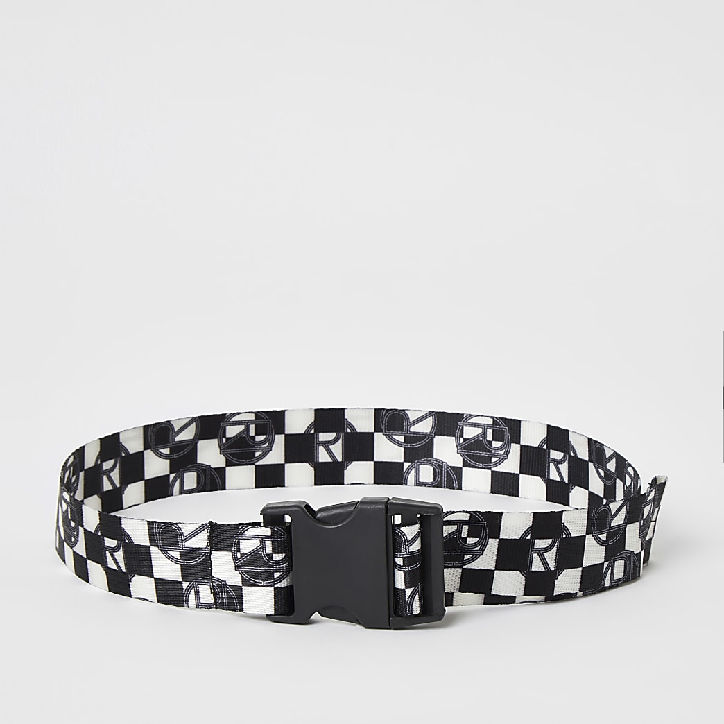 Boys black checkerboard print webbing belt