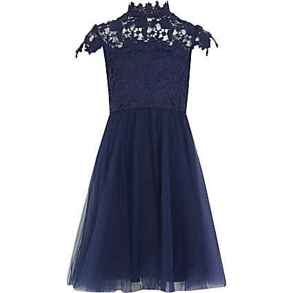 Girls Chi Chi navy Ailish lace dress