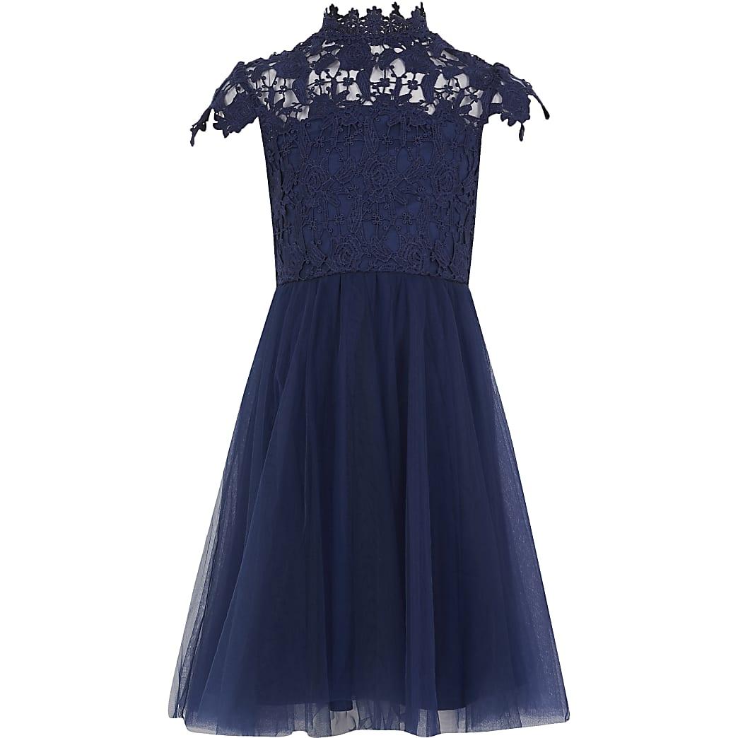 Girls Chi Chi navy Ailish lace dress
