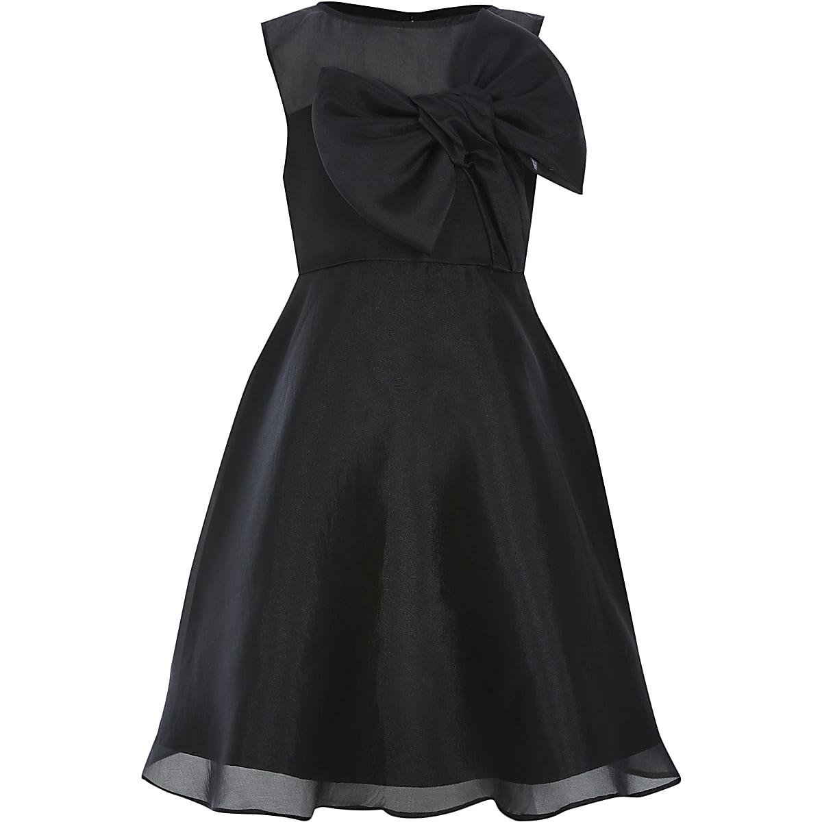 Girls Chi Chi black organza bow dress