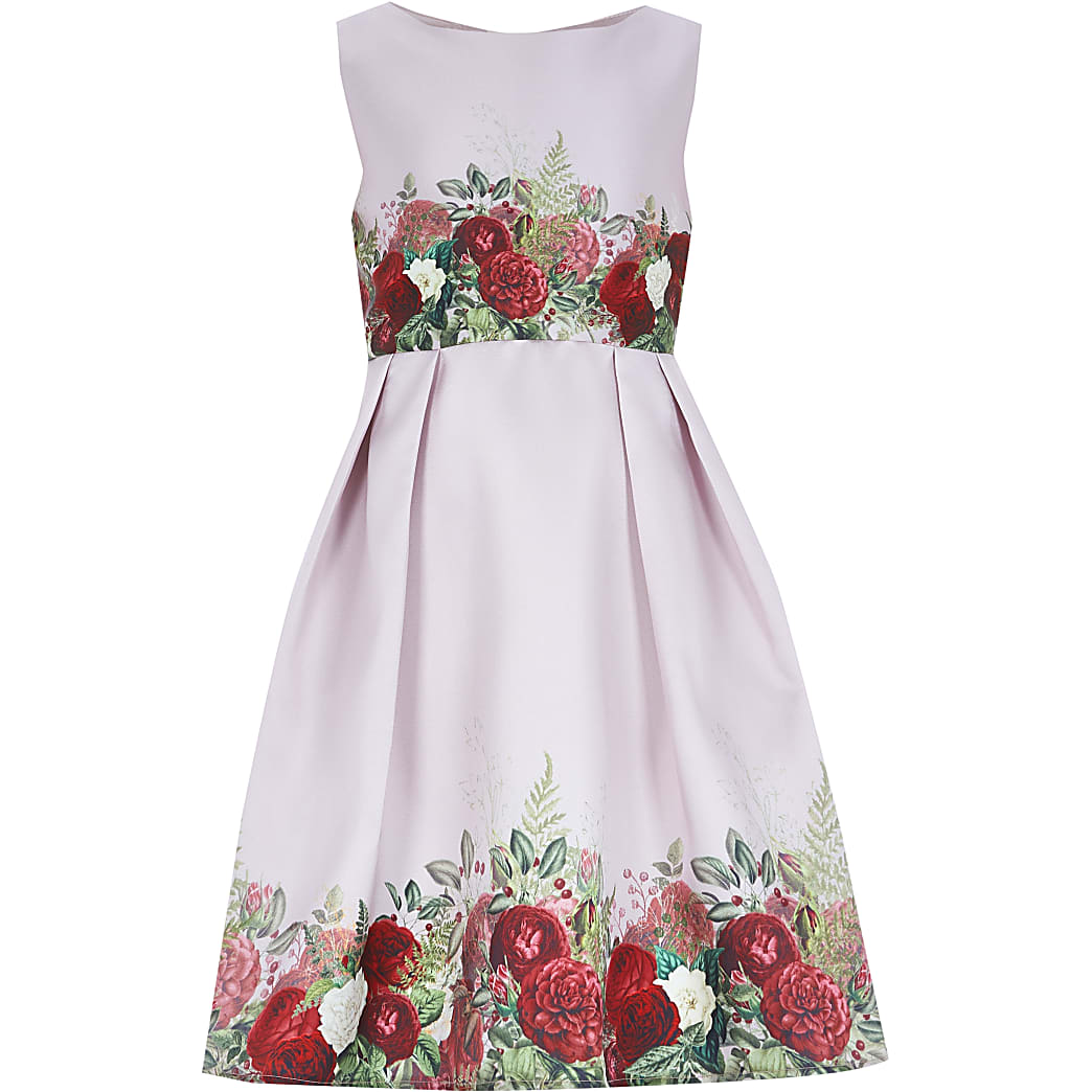 Girls Chi Chi pink floral dress