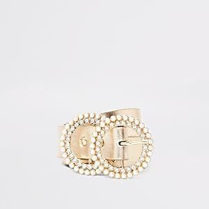 Goudkleurige riem met twee ringen met siersteentjes en parels voor meisjes