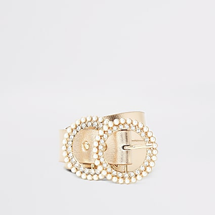 Girls gold diamante pearl double ring belt