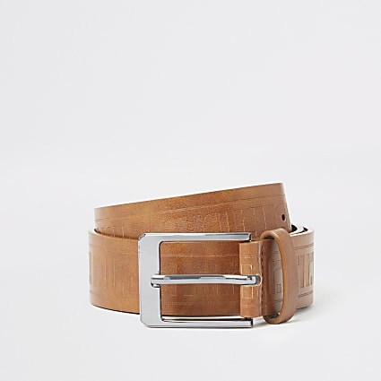 Boys brown RI embossed belt