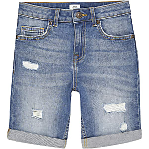 Blauwe ripped slim-fit Dylan shorts voor jongens