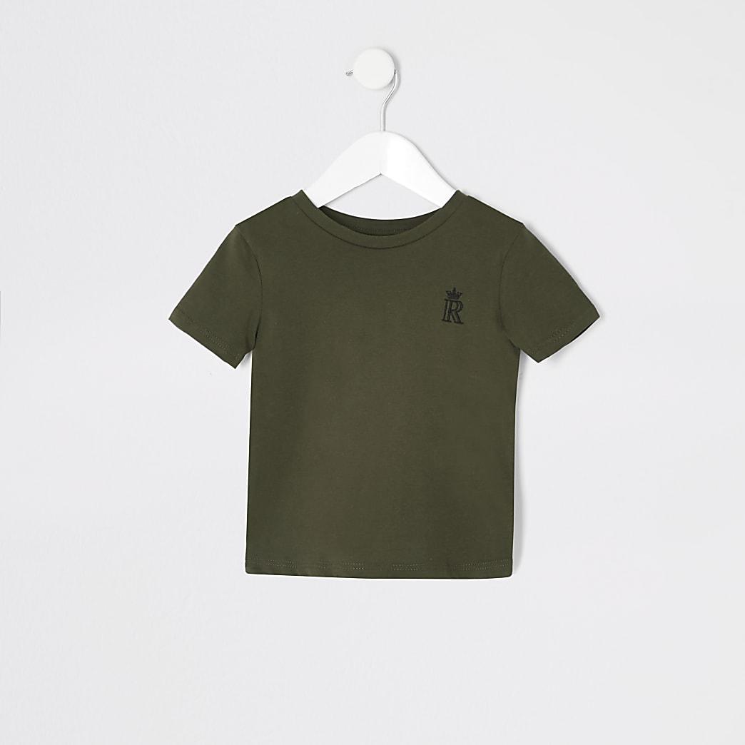 Mini - Kaki T-shirt met RI- en kroonprint voor jongens