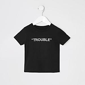 Mini - Zwart T-shirt met 'Trouble' borduursel voor jongens