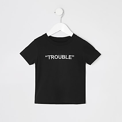 Mini boys black 'Trouble' embroidery T-shirt
