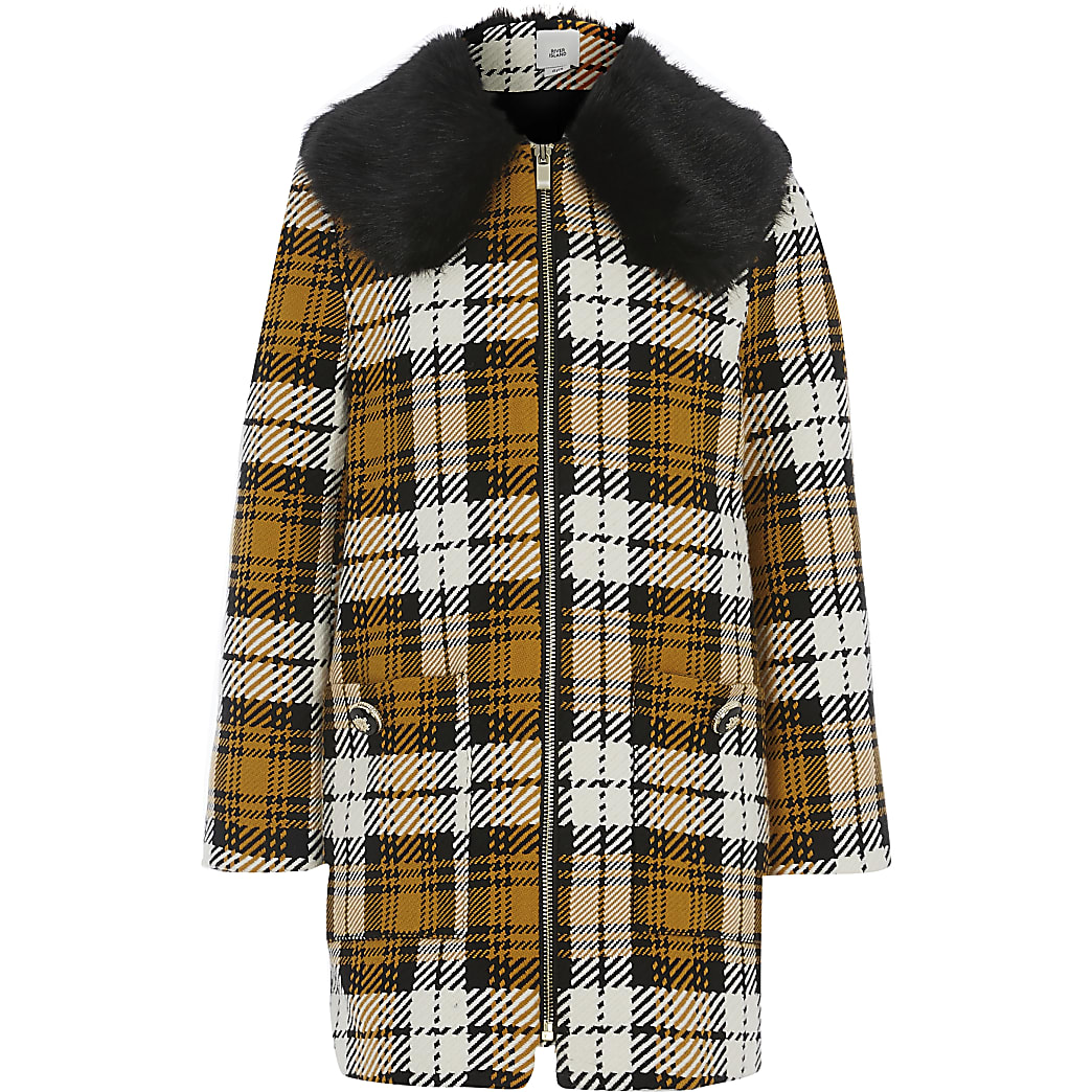 Girls yellow check faux fur collar jacket