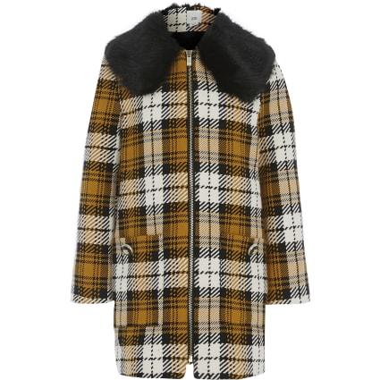 Girls yellow check faux fur collar jacket