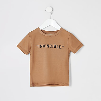 Mini boys stone 'Invincible' T-shirt
