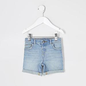 Mini boys light blue Dylan slim fit shorts
