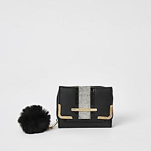Zwarte mini-portemonnee met drie vakken en siersteentjes voor meisjes