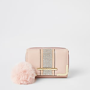 Roze mini-portemonnee met drie vakken en siersteentjes