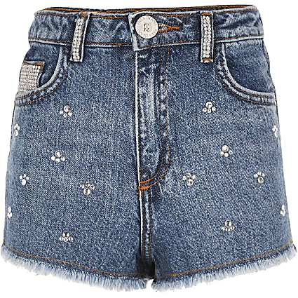 Girls blue Annie embellished denim shorts
