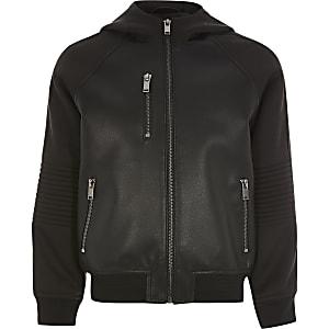 Blouson noir en cuir synthétique à capuche pour garçon
