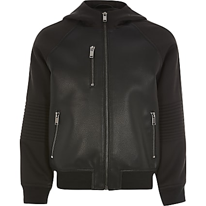 Boys black faux leather hooded bomber jacket