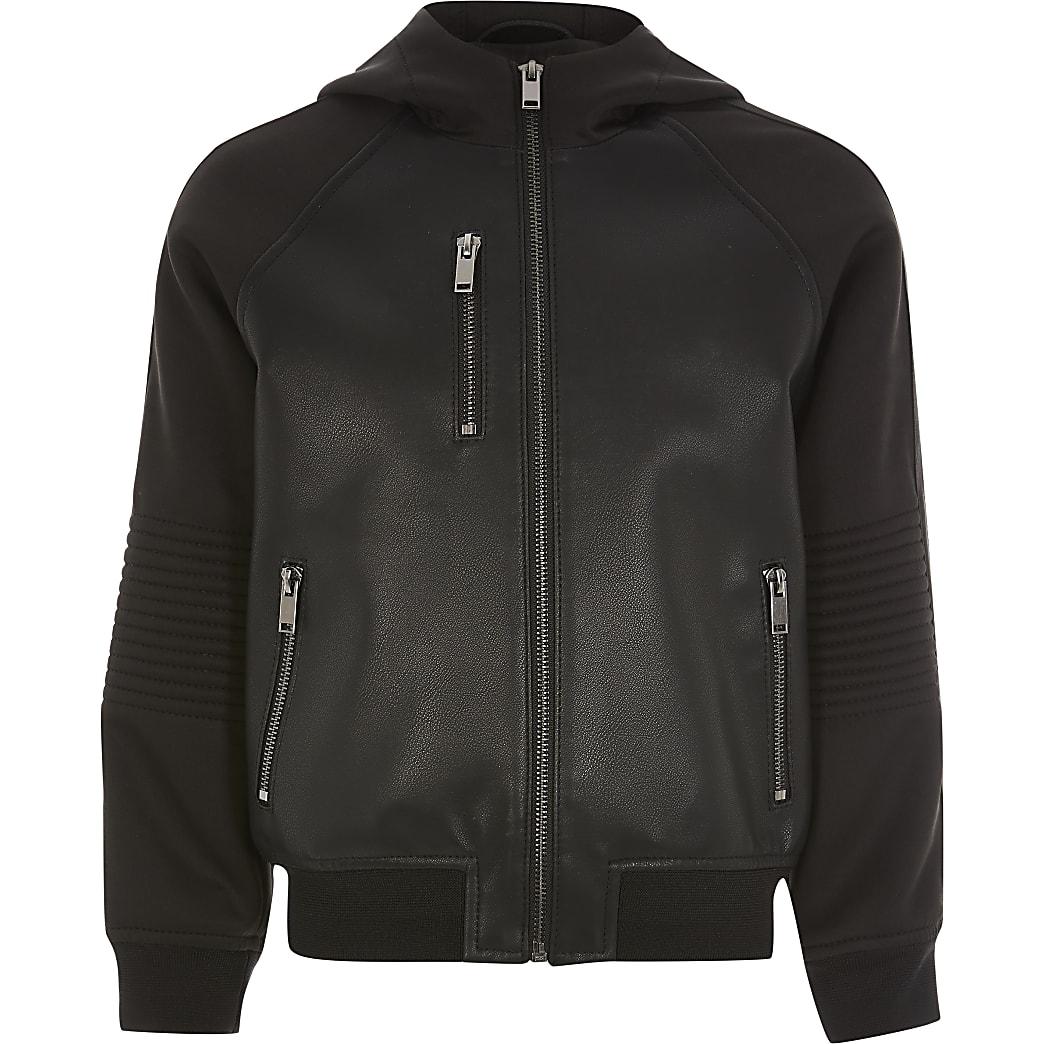 Boys black faux leather hooded bomber jacket