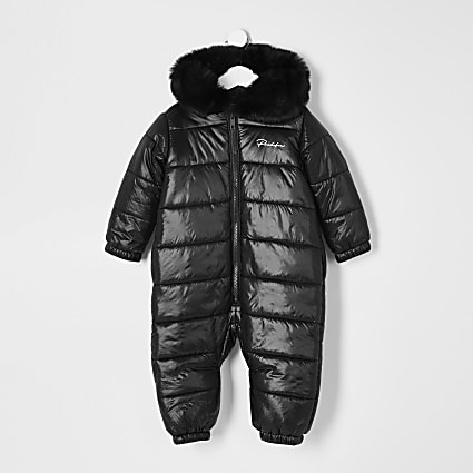 Mini boys black Prolific padded snowsuit