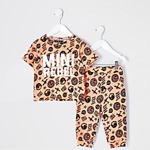Mini - Oranje pyjama van wafelstof met print voor jongens