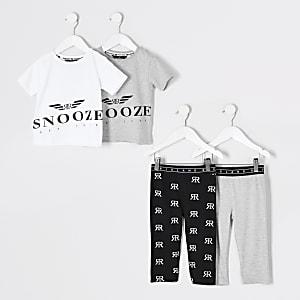 Mini - Set van 2 grijze pyjama outfits met 'Snooze'-tekst voor jongens