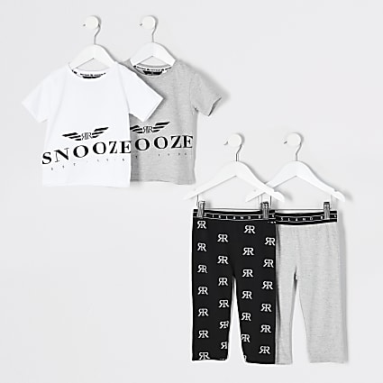 Mini boys grey 'Snooze' pyjama outfit 2 pack