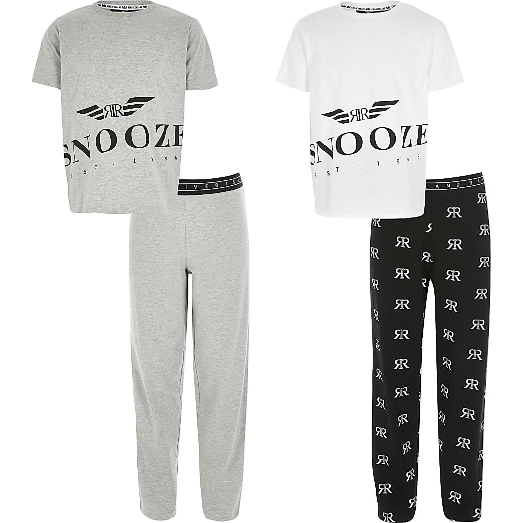 Boys grey RI 'Snooze' pyjamas 2 pack