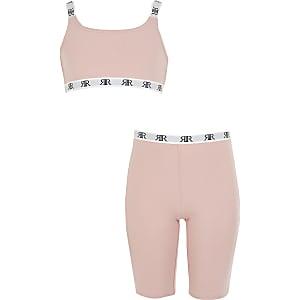 RI– Loungewear-Set mit Crop Top in Pink für Mädchen