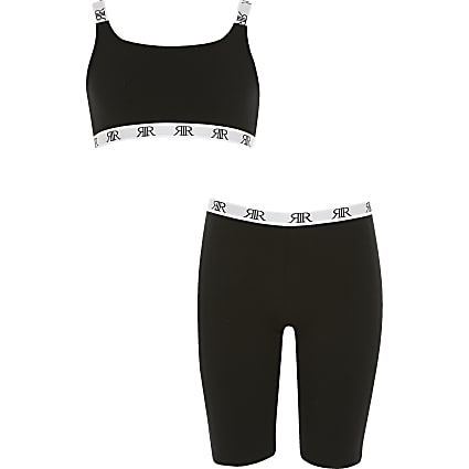 Girls black RI crop top and cycling short set