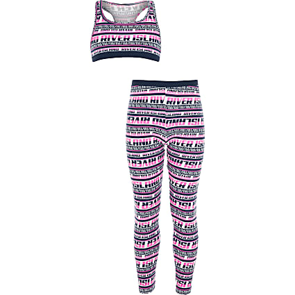 Girls navy RI crop top loungewear set