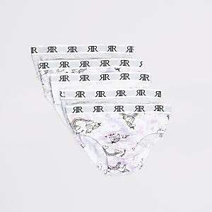 Mini– Slips mit Einhorn-Print in Lila, 5er-Pack