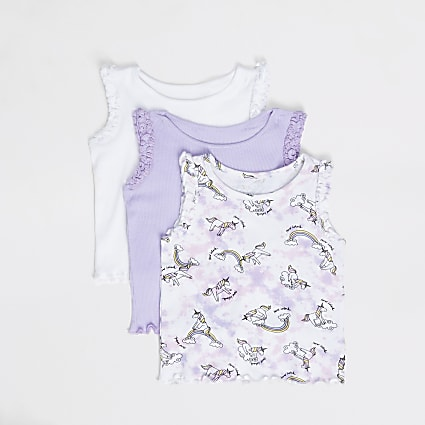 Mini girls purple printed ribbed vests 3 pack