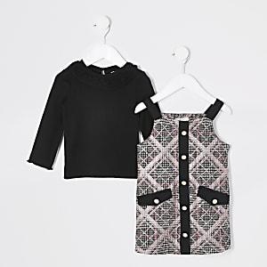 Ensemble avec robe chasuble à carreaux noire pour mini fille