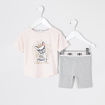 Mini girls pink bulldog printed short pyjamas