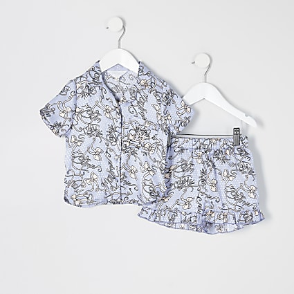Mini girls blue printed satin pyjamas