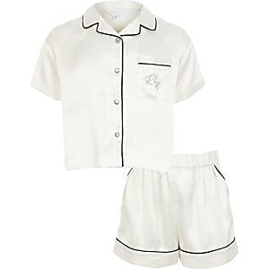 Pyjama Ri avec short en satin blanc pour fille