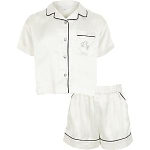 Witte satijnen pyjama met RI-print en korte mouwen voor meisjes