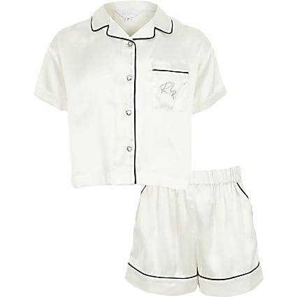 Girls white satin RI short pyjamas