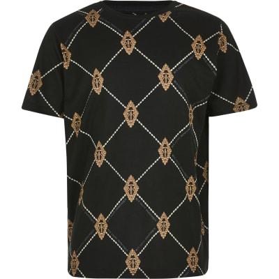 Boys Black Diamond Ri T Shirt by River Island