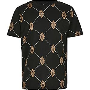 Zwart T-shirt met RI diamant print voor jongens