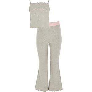 Grijze uitlopende pyjama met 'Mon Amie'-print voor meisjes