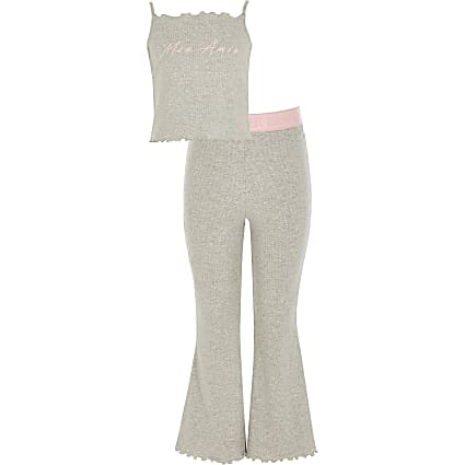 Girls grey 'Mon Amie' flare pyjamas