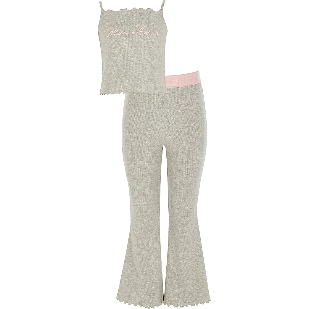 Girls grey 'Mon Amie' flare pyjamas