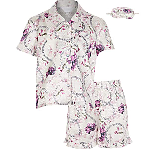 Pyjamas en satin rose fleuri pour fille