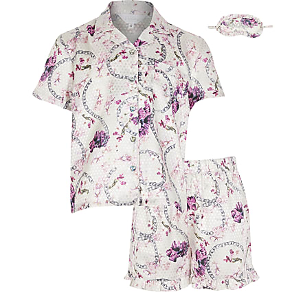 Girls pink floral satin boxed pyjamas