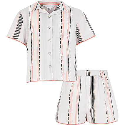 Girls white stripe shorts pyjama set