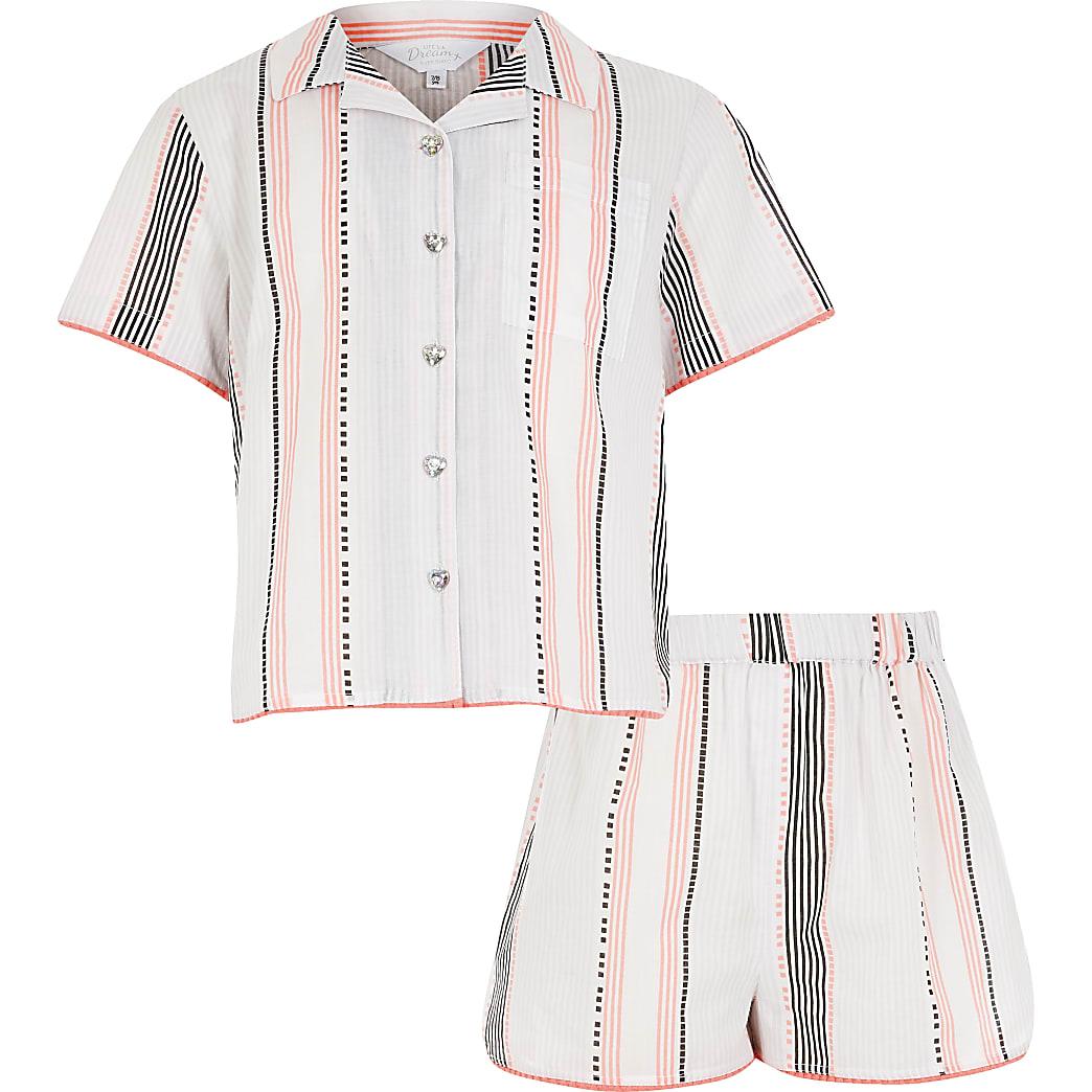 Girls white stripe shorts pyjama set